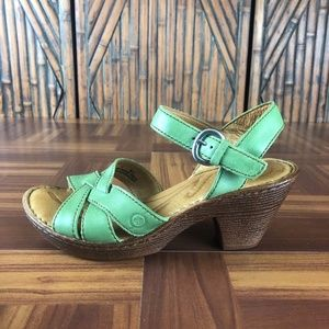 BORN BELINDA Leather Strappy Green Heeled Sandals